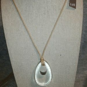 J. Jill Glass Pendant w/Adjustable Leather Cords